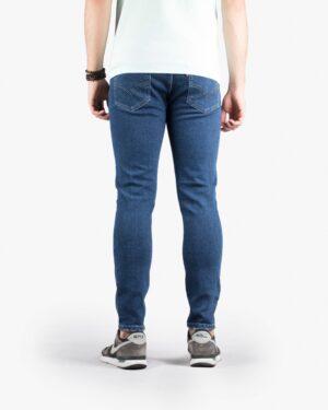 شلوار جین جذب مردانه - آبی نفتی - پشت