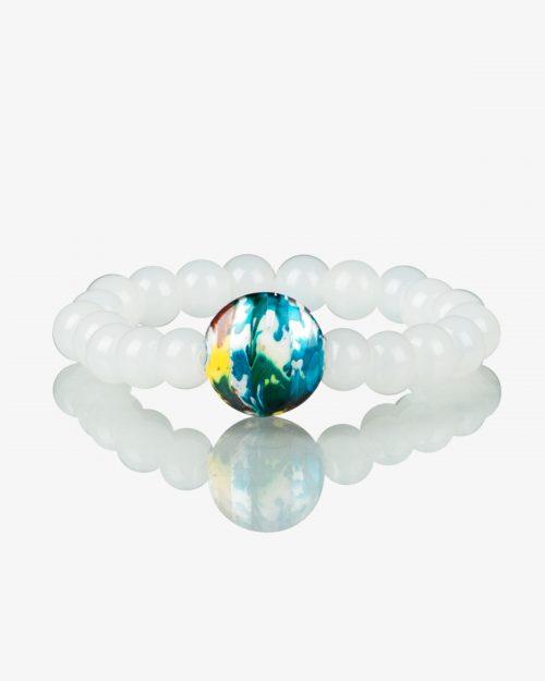 دستبند کشی مرواریدی سفید سنگ رنگی-روبهرو