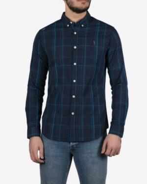 پیراهن آستین بلند سرمه ای چهارخانه مردانه - سرمه ای - رو به رو