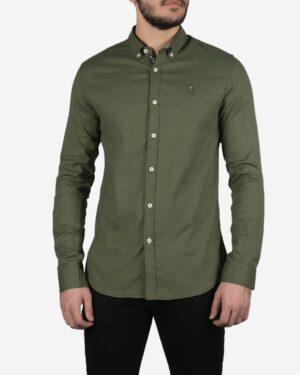 پیراهن مردانه ساده یشمی آستین بلند - یشمی - رو به رو