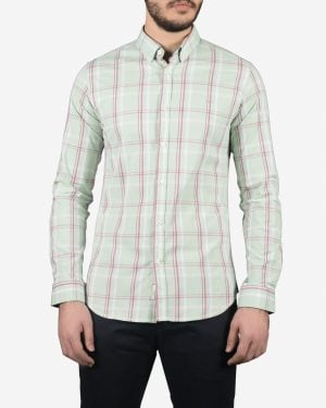 پیراهن مردانه آستین بلند چهارخانه سبز پاستیلی - سبز پاستیلی - رو به رو