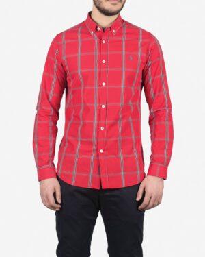 پیراهن آستین بلند قرمز چارخونه مردانه - قرمز - رو به رو