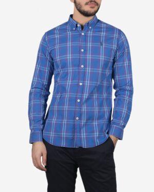 پیراهن آستین بلند آبی نفتی چهارخانه مردانه - آبی نفتی - رو به رو
