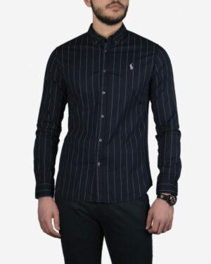 پیراهن مردانه آستین بلند سرمه ای راه راه - سرمه ای - رو به رو