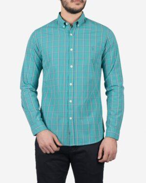 پیراهن آستین بلند فیروزه ای چهارخانه مردانه - سبز آبی روشن - رو به رو