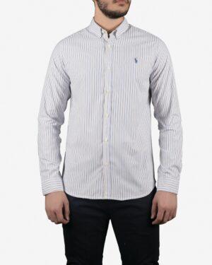 پیراهن مردانه راه راه سفید آستین بلند با خطوط آبی خردلی - سفید - رو به رو