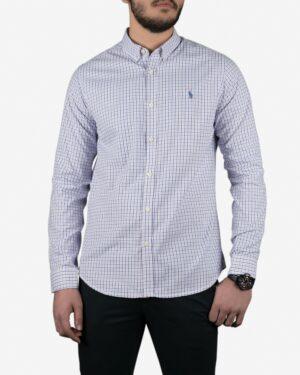 پیراهن چهارخانه ریز مردانه آستین بلند سفید - سفید - رو به رو