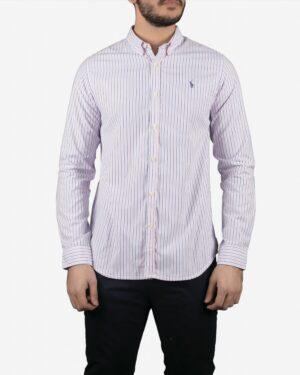 پیراهن آستین بلند راه راه مردانه سفید با خطوط صورتی آبی - سفید - رو به رو