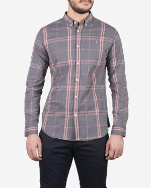 پیراهن مردانه آستین بلند طوسی چهارخانه - طوسی - رو به رو