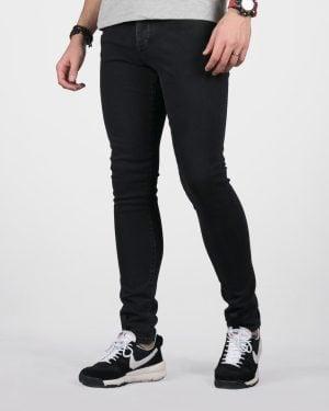 شلوار جین مشکی مردانه چسبان - مشکی - رو به رو