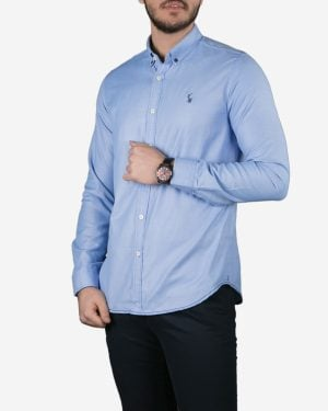پیراهن آستین بلند آبی روشن مردانه - آبی روشن - رو به رو