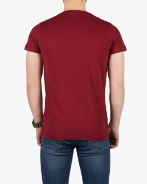تیشرت مردانه طرح نوشته گرد - شرابی - پشت