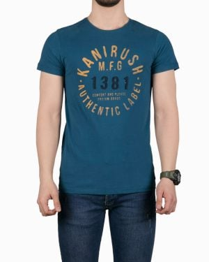 تیشرت مردانه طرح نوشته گرد - آبی نفتی - روبهرو