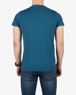 تیشرت مردانه طرح نوشته گرد - آبی نفتی - پشت
