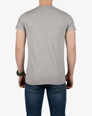 تیشرت مردانه طرح نوشته گرد - ملانژ - پشت