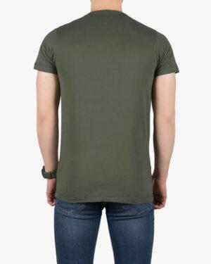 تیشرت مردانه طرح نوشته گرد - زیتونی سیر - پشت