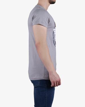 تیشرت آستین کوتاه با آرم کانی راش - طوسی - بغل
