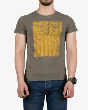 تیشرت آستین کوتاه با طرح برفکی کانی راش - زیتونی - روبهرو
