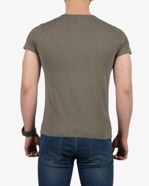 تیشرت آستین کوتاه با طرح برفکی کانی راش - زیتونی - پشت