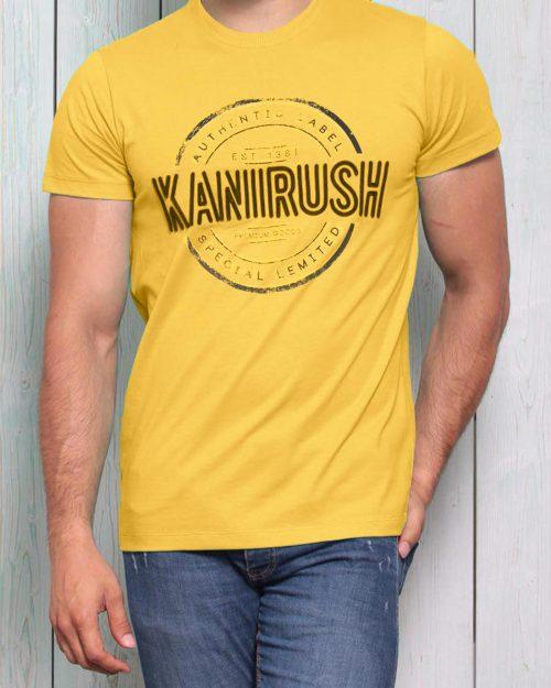 تیشرت آستین کوتاه با طرح مُهر- زرد-محیطی