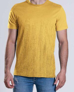 تیشرت آستین کوتاه با طرح نقطهای- زرد- محیطی