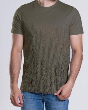 تیشرت آستین کوتاه با طرح نقطهای- زیتونی- محیطی