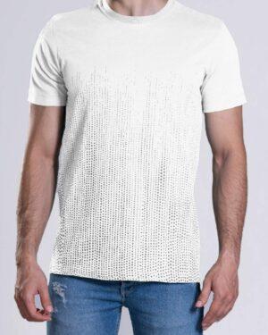 تیشرت آستین کوتاه با طرح نقطهای- سفید- محیطی