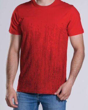 تیشرت آستین کوتاه با طرح نقطهای- قرمز- محیطی