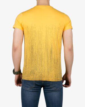 تیشرت آستین کوتاه با طرح نقطهای کانی راش - زرد - پشت