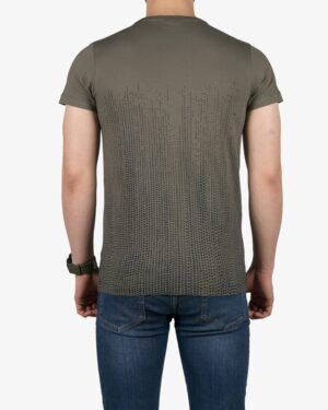 تیشرت آستین کوتاه با طرح نقطهای کانی راش - زیتونی - پشت