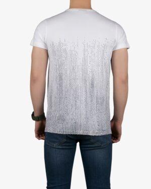 تیشرت آستین کوتاه با طرح نقطهای کانی راش - سفید - پشت