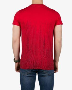 تیشرت آستین کوتاه با طرح نقطهای کانی راش - قرمز - پشت