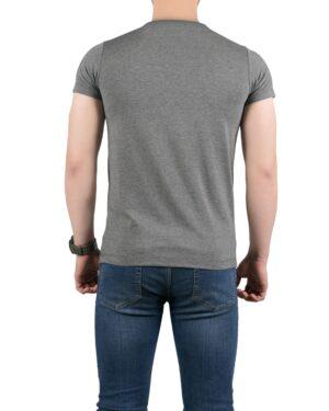 تیشرت آستین کوتاه برفکی مردانه - ملانژ پر رنگ - پشت