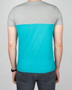 تیشرت آستین کوتاه دو رنگ مردانه - فیروزه ای - پشت