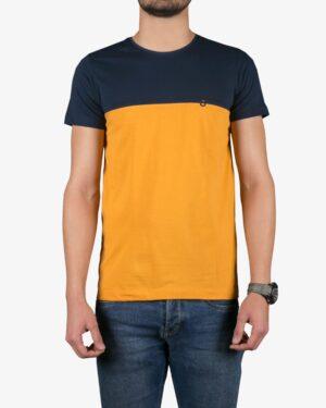 تیشرت آستین کوتاه دو رنگ مردانه - خردلی - رو به رو