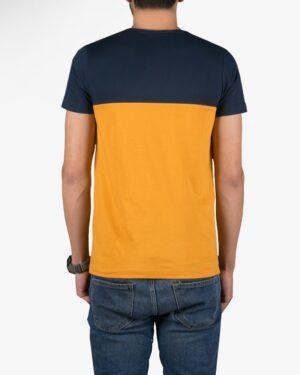 تیشرت آستین کوتاه دو رنگ مردانه - خردلی - پشت