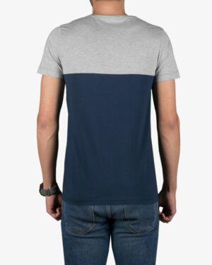 تیشرت آستین کوتاه دو رنگ مردانه - سرمه ای - پشت
