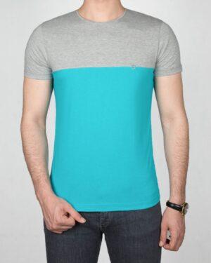 تیشرت آستین کوتاه دو رنگ مردانه - فیروزه ای - رو به رو