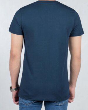 تیشرت آستین کوتاه طرح خط دار مردانه - سرمه ای تیره - پشت