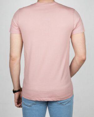 تیشرت آستین کوتاه طرح خط دار مردانه - صورتی - پشت