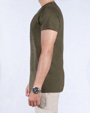 تیشرت آستین کوتاه طرح خط دار مردانه - ماشی - بغل