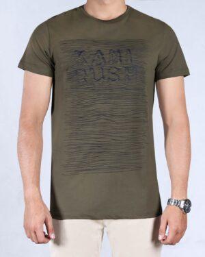 تیشرت آستین کوتاه طرح خط دار مردانه - ماشی - رو به رو