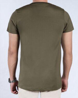 تیشرت آستین کوتاه طرح خط دار مردانه - ماشی - پشت