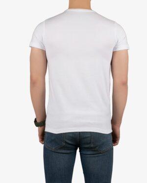 تیشرت آستین کوتاه نخی مردانه - سفید - پشت