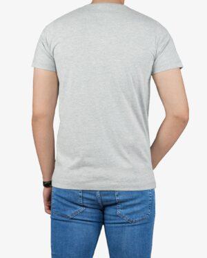 تیشرت مردانه ملانژ طرح دار - مشکی - پشت