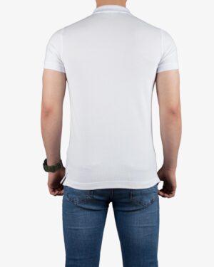 تیشرت یقهدار سادهی کانی راش - سفید - پشت