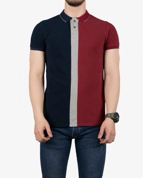 پولوشرت سه رنگ مردانه - زرشکی - روبهرو - خرید اینترنتی لباس - فروشگاه اینترنتی لباس سارابارا