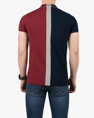 پولوشرت سه رنگ مردانه - زرشکی - پشت - خرید اینترنتی لباس - فروشگاه اینترنتی لباس سارابارا
