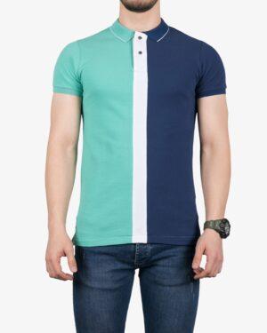 پولوشرت سه رنگ مردانه - سبز زمردی - روبهرو - خرید اینترنتی لباس - فروشگاه اینترنتی لباس سارابارا