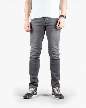 شلوار جین زغالی راسته مردانه - خاکستری - رو به رو